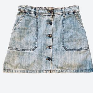 Zara Woman Premium Denim Collection Button Skirt